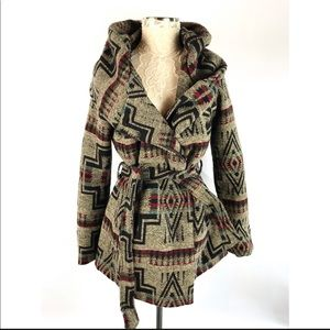 Mossimo Aztec Belted Blanket Style Coat